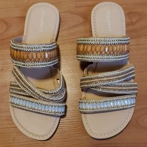 NEW Maurices beaded slip-on strappy sandals